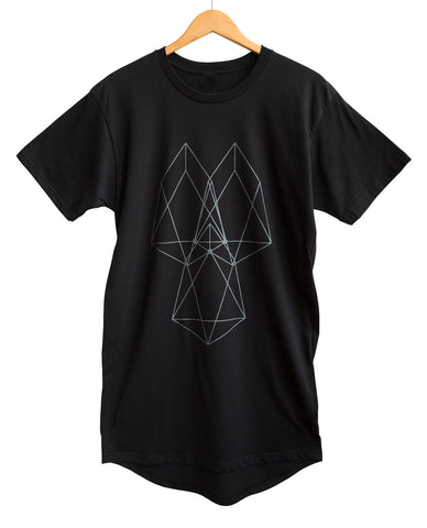 Heart Geometry Long Line Black Pearl on Black Adult T-Shirt, Well Done Goods