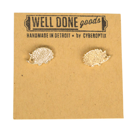 Hedgehog Gold Stud Earrings, Well Done Goods