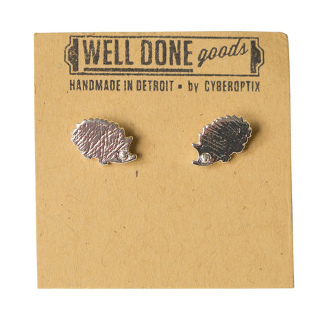 Hedgehog Silver Stud Earrings, Well Done Goods