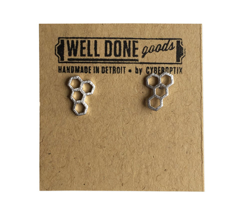 Silver honeycomb Stud Earrings, well done goods