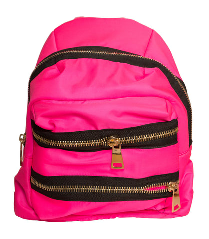 Hot Pink Heavy Nylon Zippers Backpack, Well Done Goods