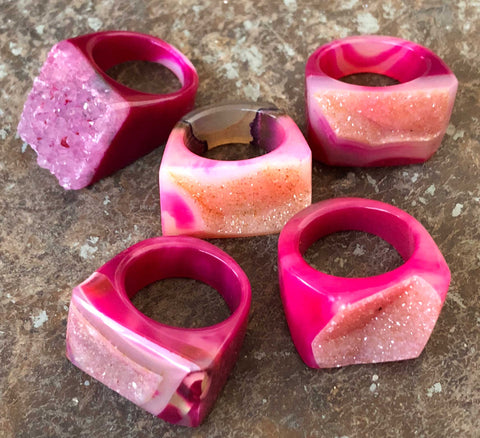 Hot Pink Agate Druzy, Chunky Raw Stone Ring