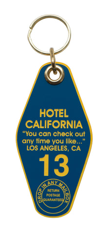 Hotel California Motel Style Keychain Tag, Blue and Yellow, by Well Done Goods