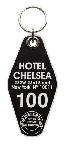 Hotel Chelsea, Motel Style Keychain Tag, Black and White, by Well Done Goods