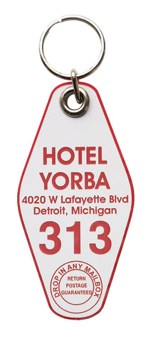 Hotel Yorba Keychain Tag, Crimson and White, by Well Done Goods