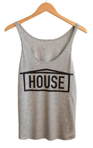HOUSE Text Print Black on Athletic Heather Women's Tank Top, Well Done Goods