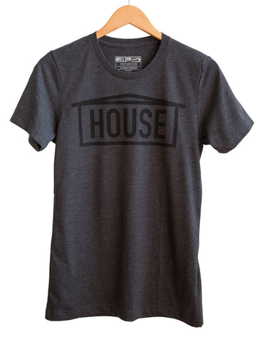 HOUSE Text Print Black on Heather Charcoal Adult T-Shirt, Well Done Goods