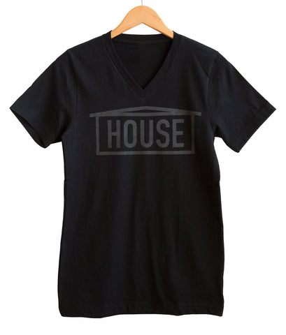 HOUSE Text Print Dark Black Pearl on Black V-Neck T-Shirt, Well Done Goods