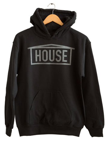 HOUSE Text Print Black Pearl on Black Unisex Pullover Hoodie, Well Done Goods