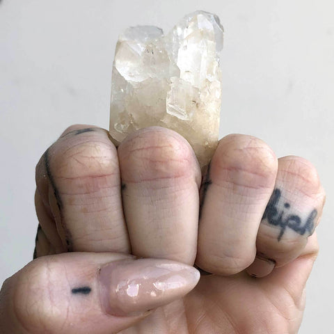 Epic Quartz Crystal Raw Stone Ring, Size 7