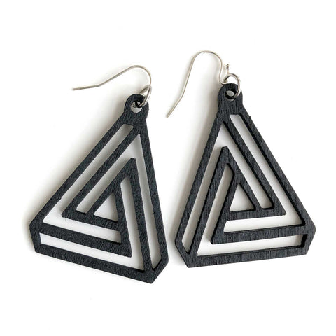 Black Interlocking Triangles, Laser Cut Wood Drop Earrings. Well Done Goods