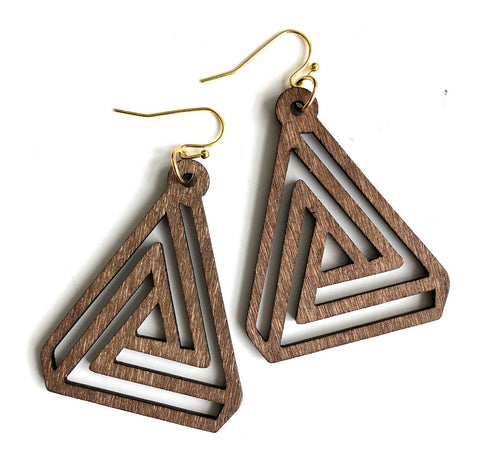 Dark Walnut Interlocking Triangles, Laser Cut Wood Drop Earrings. Well Done Goods