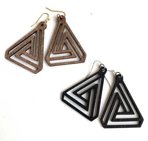 Interlocking Triangles, Laser Cut Wood Drop Earrings. Well Done Goods