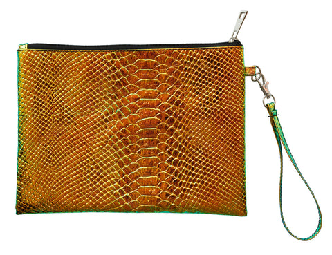 Iridescent Green Oilslick Snake Print Pouch, Well Done Goods