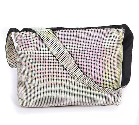 Metal Mesh Shoulder Bag: Iridescent White