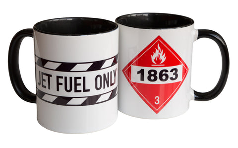 Jet Fuel Warning Label Print Mug, Flammable Liquid Hazard Coffee Cup, Well Done Goods