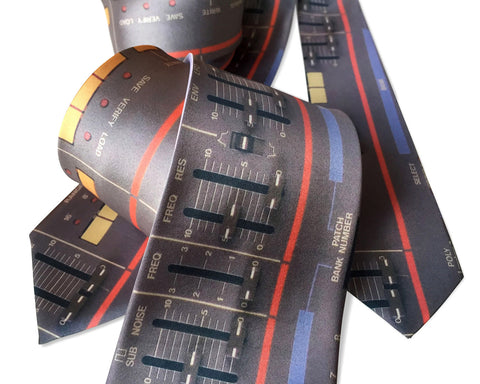 Juno-106 Vintage Synth Neckties, Full Color Print, Cyberoptix