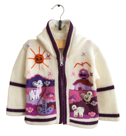 Cream & Purple Peruvian Arpillera Handmade Children's Sweater. 12 Months, Well Done Goods