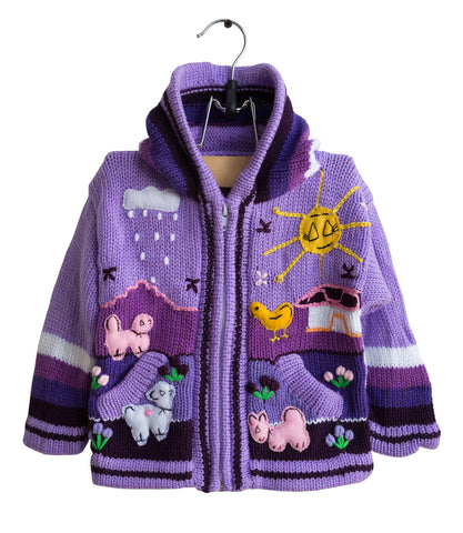 Children's Hooded Purple Sweater. 12 Months, Arpillera Design, Hand Knit in Peru