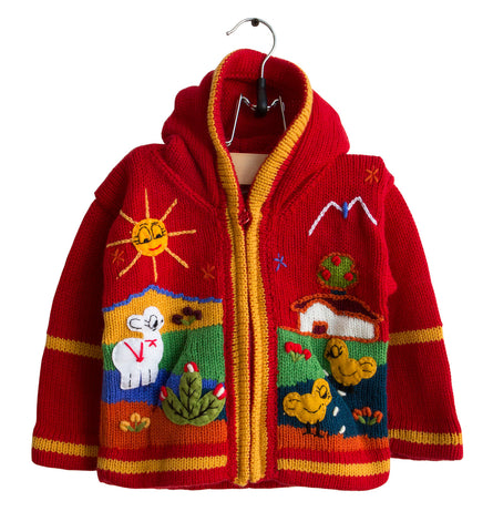 Red Peruvian Arpillera Handmade Children's Sweater. 12 Months