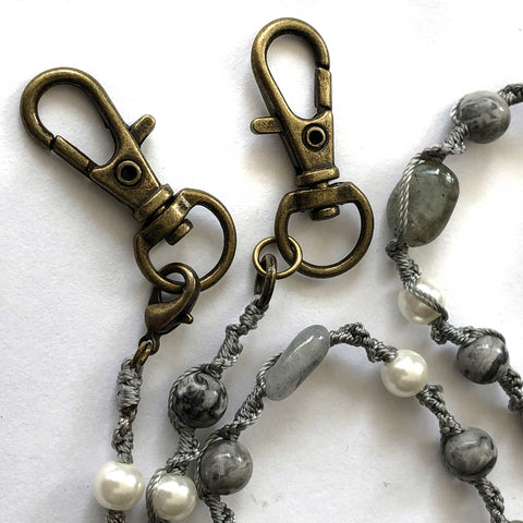 Labradorite, Crazy Lace Jasper, Pearl - Macramé Mask Holder