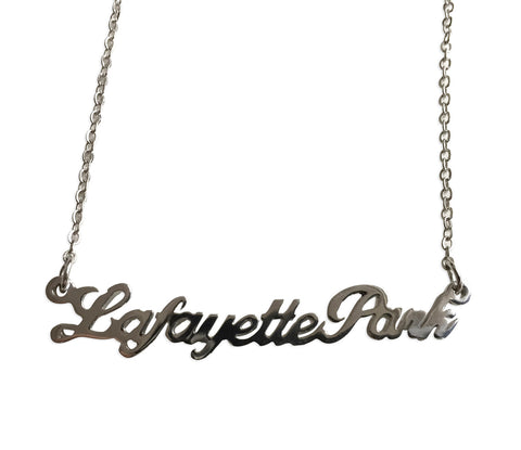 Lafayette Park Silver Script Necklace, Detroit Neighborhood Pendant, Well Done Goods