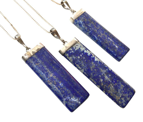 Lapis Lazuli Bar Pendant, Sterling Silver Necklace, by Well Done Goods