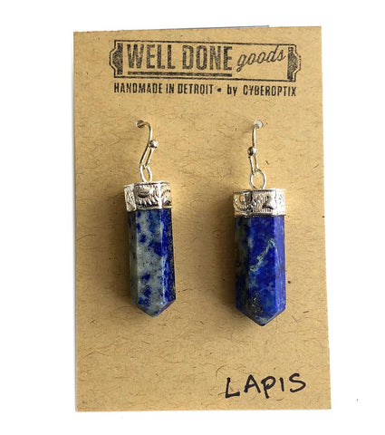 Lapis Lazuli Polished Crystal Point Earrings