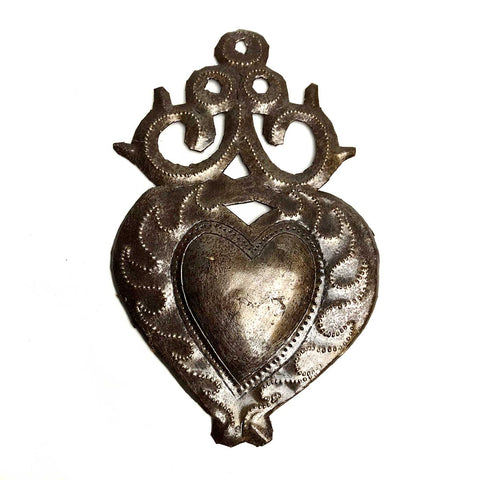 Haitian Metal Heart Milagro, Flaming Heart