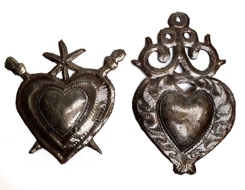 Haitian Metal Heart Milagros, Well Done Goods