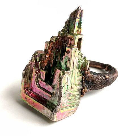Bismuth Crystal Ring, Electroformed Copper Thin Band - size 7.5