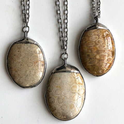 Michigan Petoskey Stone Pendants, large oval. Well Done Goods