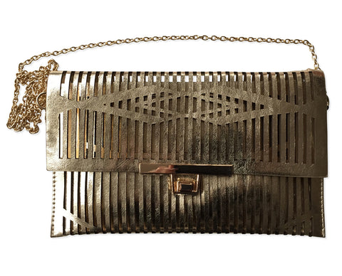 Laser Cut Striped Clutch Bag, Gold Geometric Purse, Well Done Goods