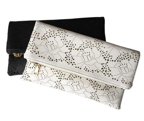 Fold-Over Lace Laser Cut Clutch Bag, Well Done Goods