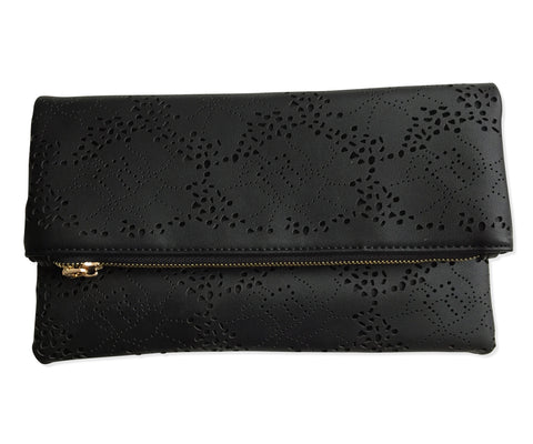 Fold-Over Lace Laser Cut Clutch Bag, Black Purse, Well Done Goods