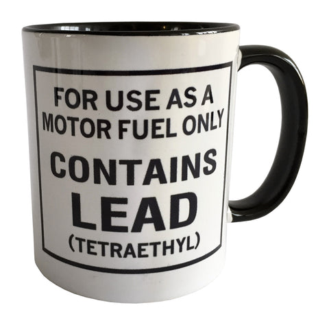 Leaded Gasoline Warning Label Print Mug, Sublimated Coffee Cup, Well Done Goods