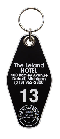 The Leland Hotel Keychain Tag, Black and White, by Well Done Goods