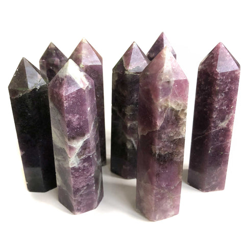 Polished Lepidolite Towers, Medium