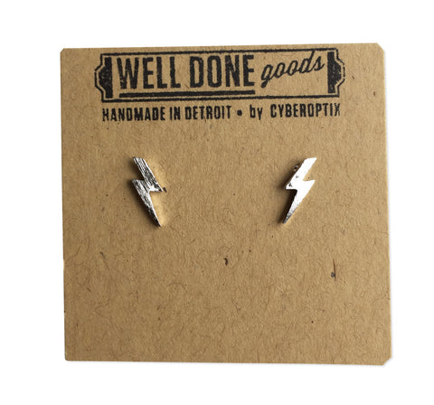 Silver Lightning Bolt Stud Earrings, by Well Done Goods