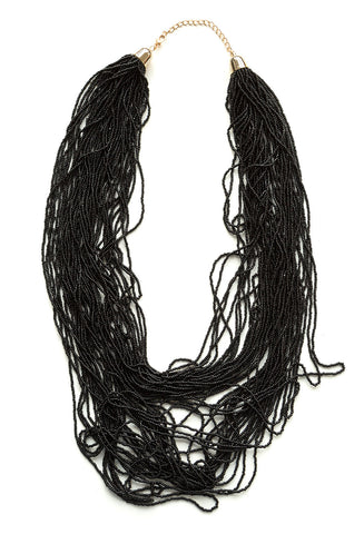 Long Tiered Black Bead Necklace, Well Done Goods