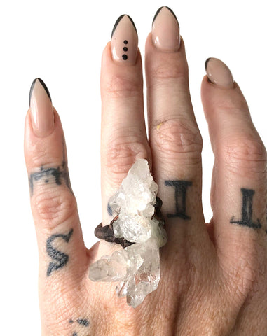 Clear Quartz Crystal Cluster Rings, Thin Electroformed Copper Band