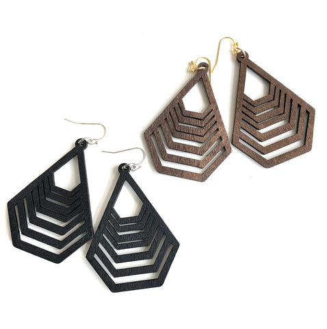 Long Interlocking Pentagons, Laser Cut Wood Drop Earrings