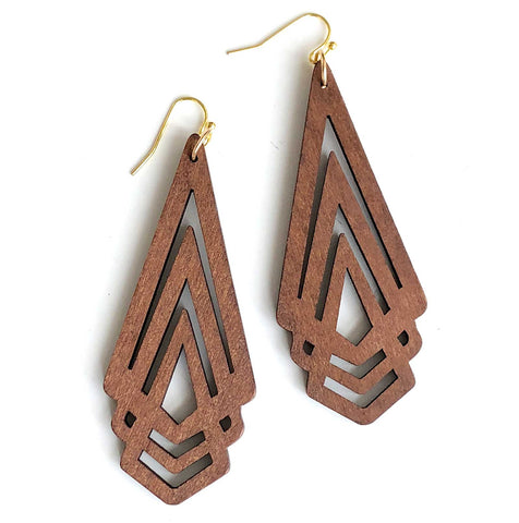 Dark Walnut Long Triple Triangles, Laser Cut Geometric Wood Drop Earrings. Well Done Goods