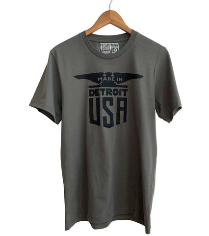 Made In Detroit USA T-Shirt, black on army green. Well Done Goods