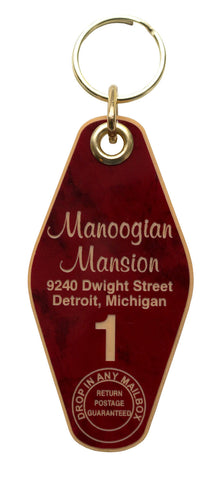 Manoogian Mansion Motel Style Keychain Tag, Red and Gold, by Well Done Goods