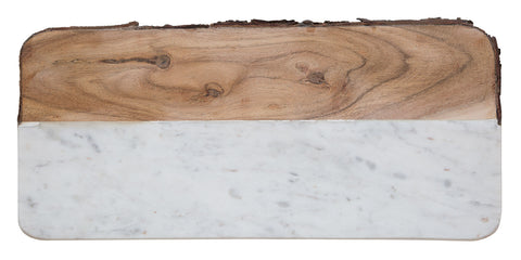 Live Edge Mango Wood & White Marble Cheese Board, Well Done Goods