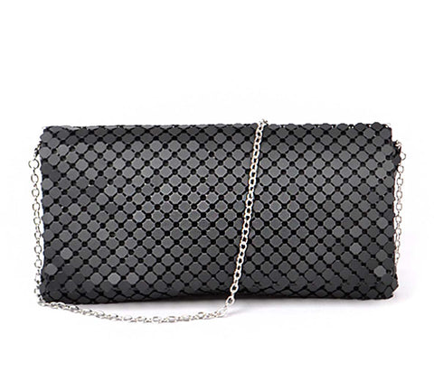 Metal Mesh Clutch Purse, Matte Black