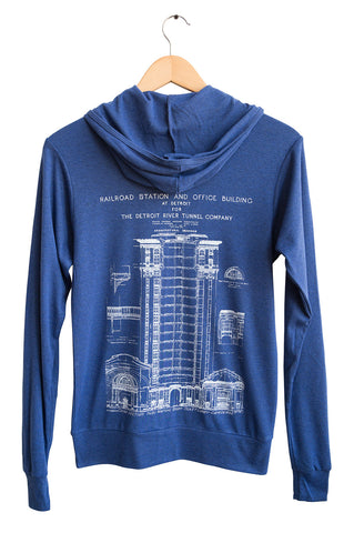 MCS Detroit Train Station Blueprint Zip Hoodie. Back Print. Navy Blue Lightweight Triblend Jersey