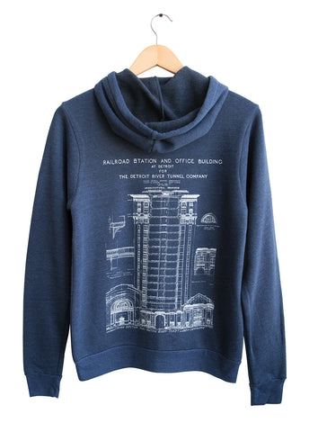 MCS Detroit Train Station Blueprint Zip Hoodie: Back Print. Unisex, Vintage Style