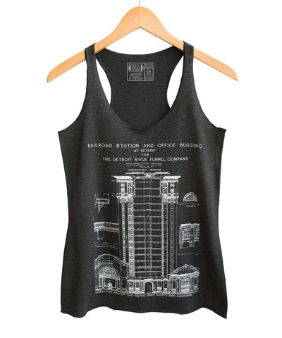MCS Detroit Train Station Blueprint Racerback Women's Tank Top